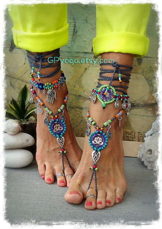 FROH, dass Lotus barfuss Sandalen Schmuck Fuß Baum Lotus Sonnensymbol Liebe Mojo Perlen häkeln Zehe Knöchel wickeln Sandale Yoga Garten Hochzeit GPyoga