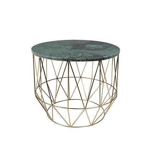 Dutchbone Boss salontafel is onderscheidend door de combinatie van materialen. De warme uitstraling van het groene marmer wordt versterkt door het glimmende onderstel met messing-look. Boss heeft een diameter van 51 cm.