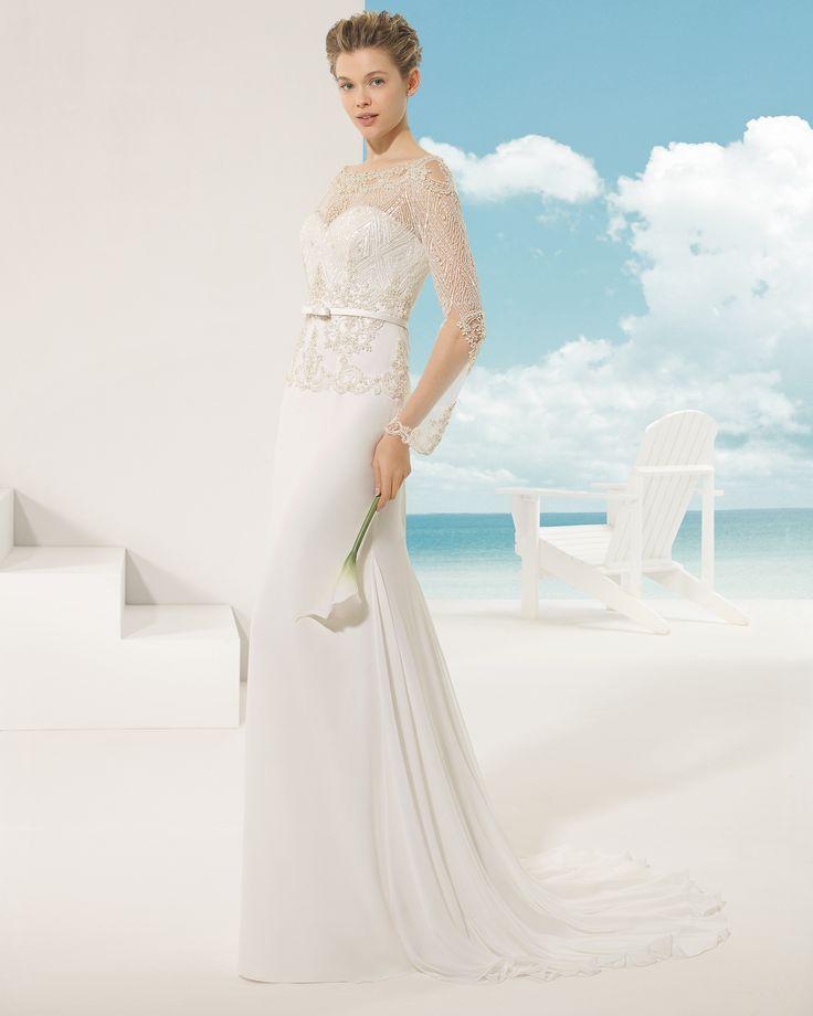 Robe de mariée manches longues, mousseline, pierreries, tsniout, modèle Veneto vestido de novia Rosa Clará Soft 2016 Long-sleeved wedding dress