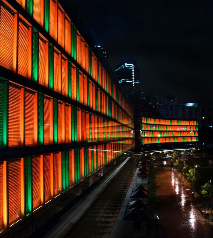australian lighting company Ramus Illumination 'luminous' the word's largest interactive light installation in sydney's newest commercial area, of LED light/solar powered.