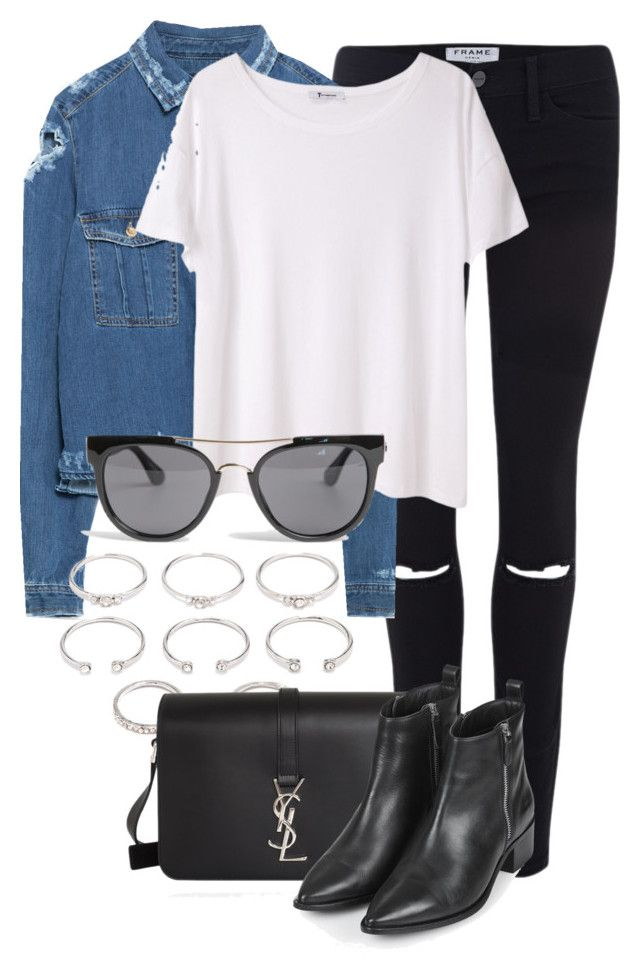 """""""Untitled #2110"""" by rosyfilm ❤ liked on Polyvore featuring Frame Denim, Zara, T By Alexander Wang, Forever 21, Yves Saint Laurent, Topshop and Quay"""