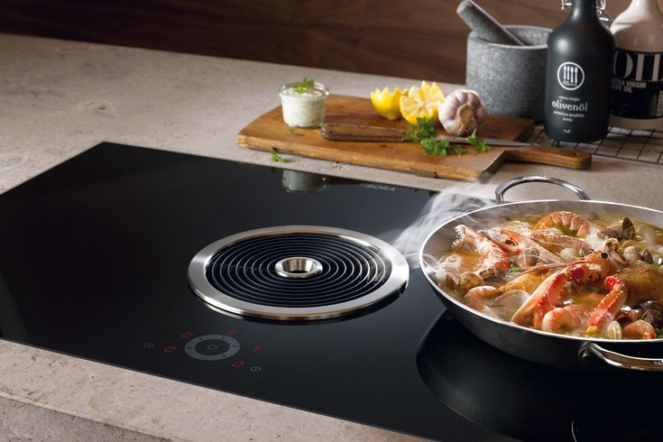 Induction glass ceramic hob with integrated hood Basic Collection by BORA