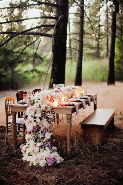 Storybook scene in the forest - via Style Me Pretty
