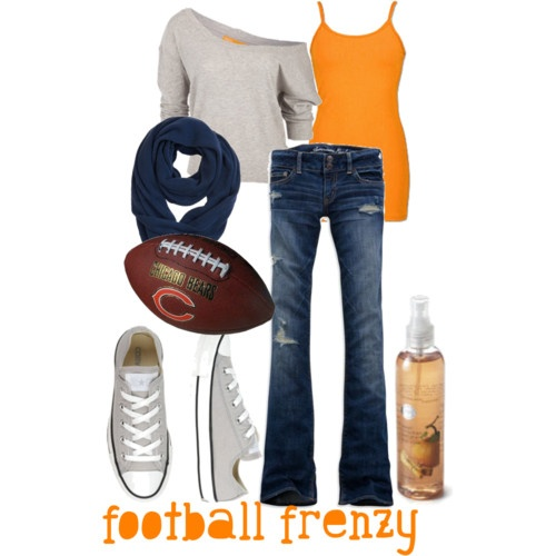 I love the orange tank under the off the shoulder sweatshirtFootball Seasons, Outfit Ideas, Style, Clothing, Casual Fall, Day Outfit, Chicago Bears, Cute Outfit, Da Bears