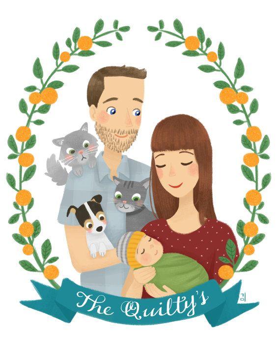 Custom Family Portrait Illustration par emkimothy sur Etsy