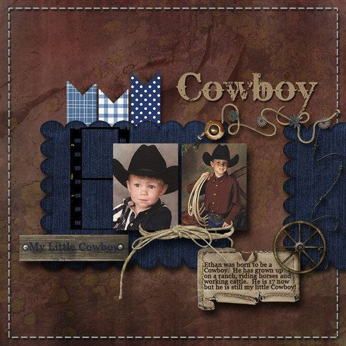 I don't usually go for just one or two photos on a page because people usually crowd the rest of the space with gibbles of paper and tons of embellishments - and you cant see the photos.  This, however is very nicely done! Cowboy