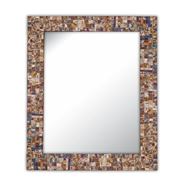 "Buy DecorShore 30""x24"" Multi-Colored and Gold, Luxe Mosaic Glass Framed Wall Mirror, decorative embossed mosaic rectangular vanity mirror online at just $142.99 only."