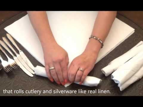 ▶ How to wrap & roll cutlery or silverware in napkins. - YouTube