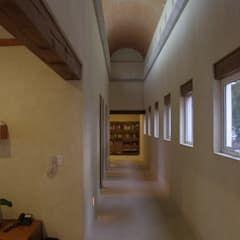 Casa T, Coyoacan: Pasillo, hall y escaleras de estilo por gremio