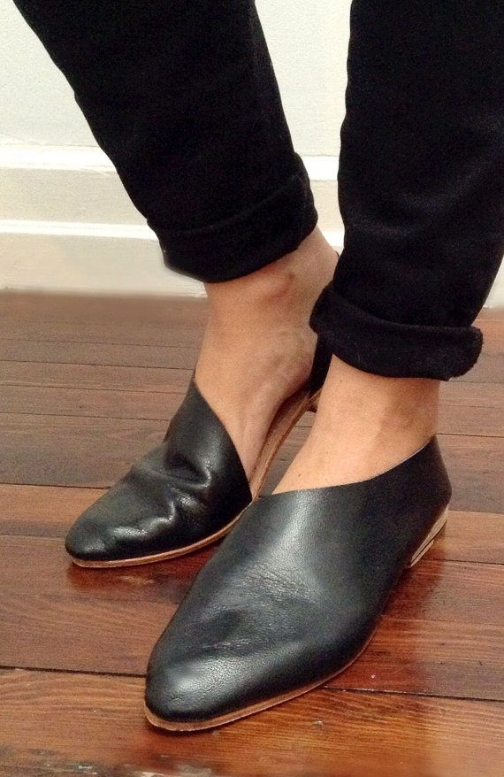 Gloss Black Gloveskin. Soft Flats. Handmade Shoes. Low HeelsLeather ...