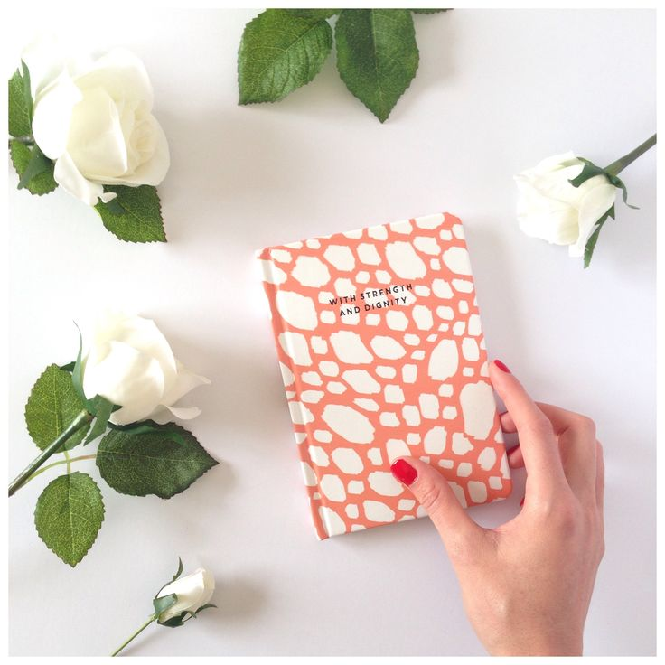'With Strength and Dignity' Coral + White Brush Stroke Textured Notebook.