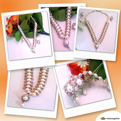 Gorgeous and ravishing Gold-plated pearls necklace with multiple crystal like stones ideal for your ethnic collection.  #Fashion #Woman #Jewelry #Necklace #Classyplus