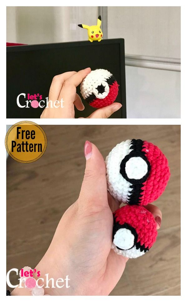 Pokemon Pokeball Free Crochet Pattern | Amigurumis | Pinterest ...