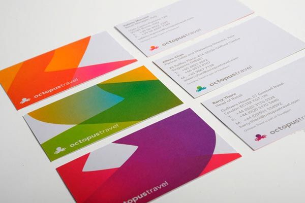 Business cards and stationery for the Octopus Travel – Identity, designed by Saffron Brand Consultants.