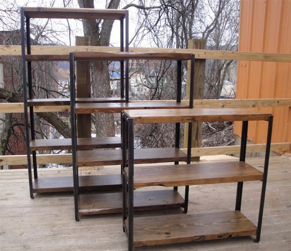 bookcases made to order of recycled steel bookshelf reclaimed wood and angle iron