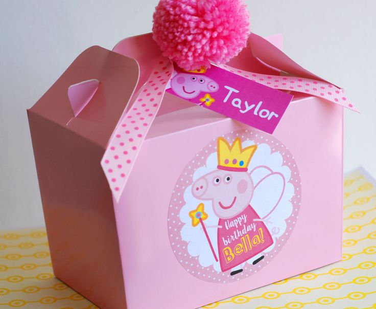 Personalised Princess Fairy Pink Peppa Pig Blue Pirate George PARTY BOX LUNCHBOX in Home, Furniture & DIY, Celebrations & Occasions, Party Supplies | eBay!