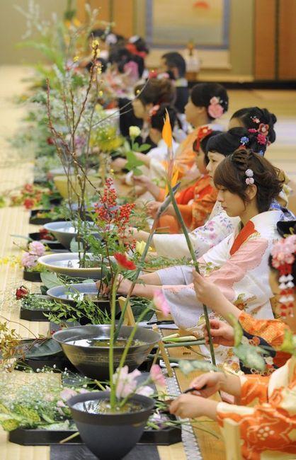 Ikebana class, Japan