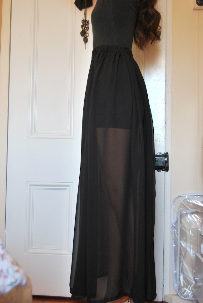 diy black chiffon maxi skirt diy