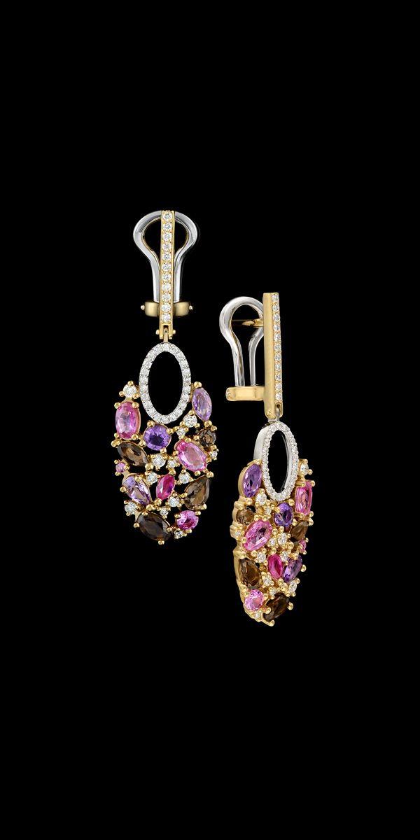 Master Exclusive Jewellery - Earrings - 18K yellow gold, diamonds, pink sapphires, amethyst, smoky quartz