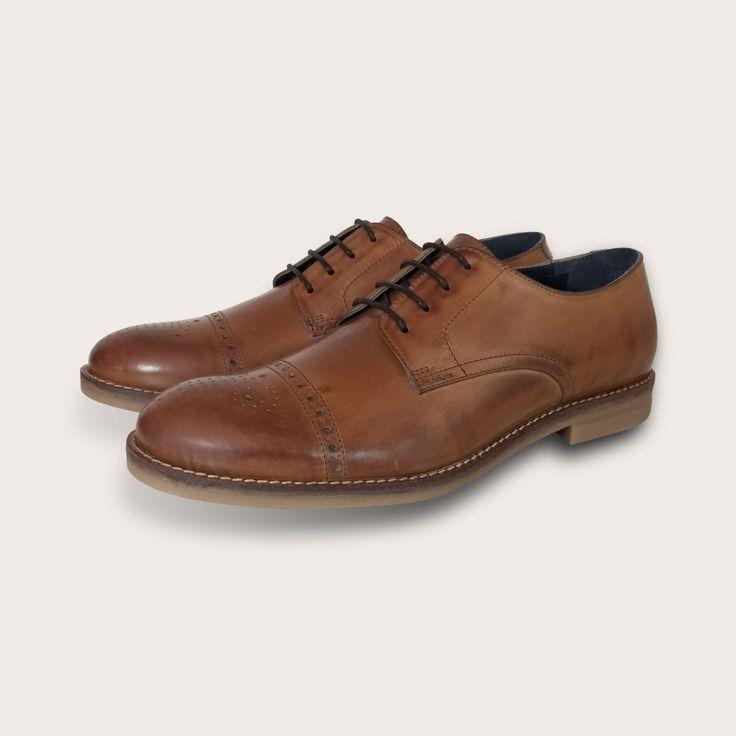 Men's Tan Brogues Derby Lace Up Shoes by Coogan London