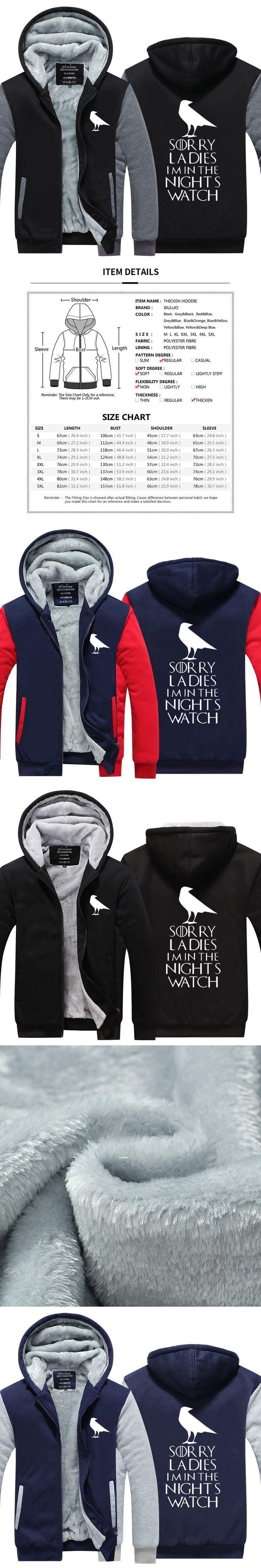 2017 Winter Hoodies Men Sorry Ladies I'm In Nights Watch Game Of Thrones Thicken Zip up Fleece Jacket USA size Plus size
