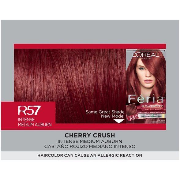 L Oreal Paris Feria High Intensity Shimmering Color Power Red R57 Intense M Auburn 1 Kit In 2021 Permanent Hair Color Hair Color Edgy Hair Color