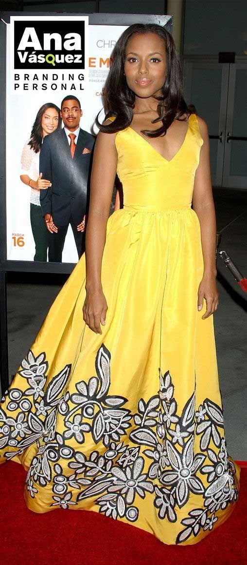 Kerry Washington (Scandal) brilla con tonos amarillos y le da un toque juvenil y elegante a su outfit
