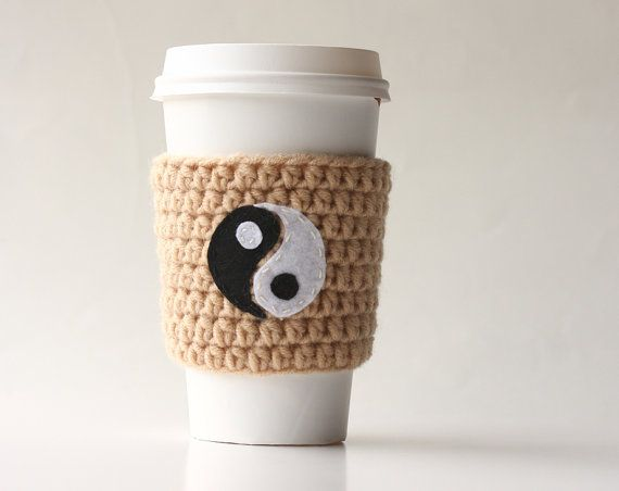 Ying Yang coffee cup cozy  neutral cup cozy   to by violasboutique