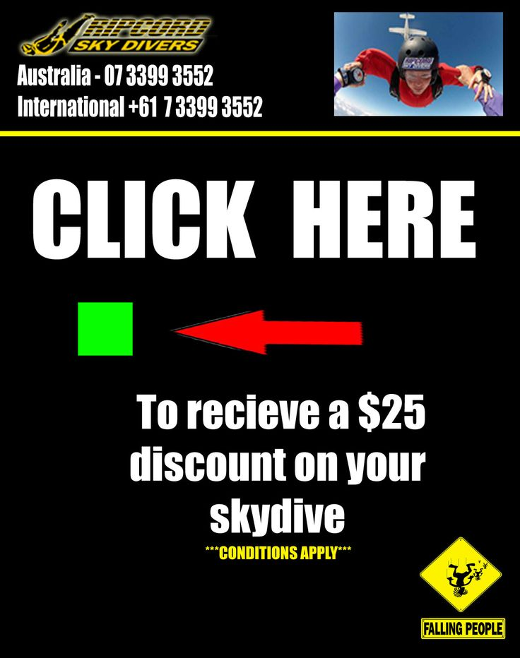 $25 Discount on your Skydive - Click on the GREEN box to claim your coupon. Don't forget to REPIN www.Ripcord-Skydivers.com.au Info@Ripcord-Skydivers.com.au