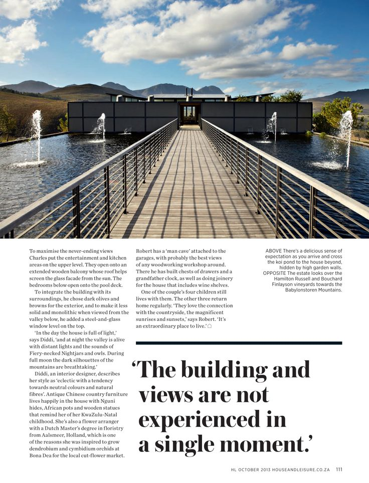 House and Leisure, 'Mountain Magic', Issue 230 October 2013 pg 03 - Charles van Breda Architects