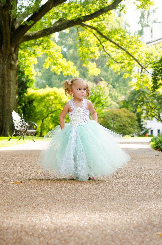 1581ecf7528c7 GIRLS Mint and White Lace Flower Girl Dress | Layla's Closet ...