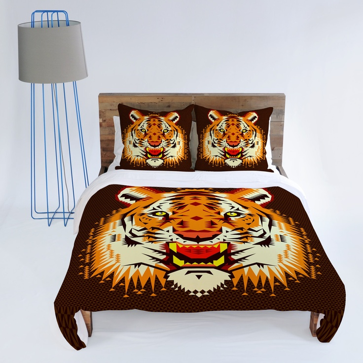 Chobopop Geometric Tiger Duvet Cover