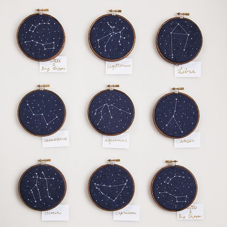 cross-stitch constellations. This might be the only thing that would ever get me to cross stitch again.