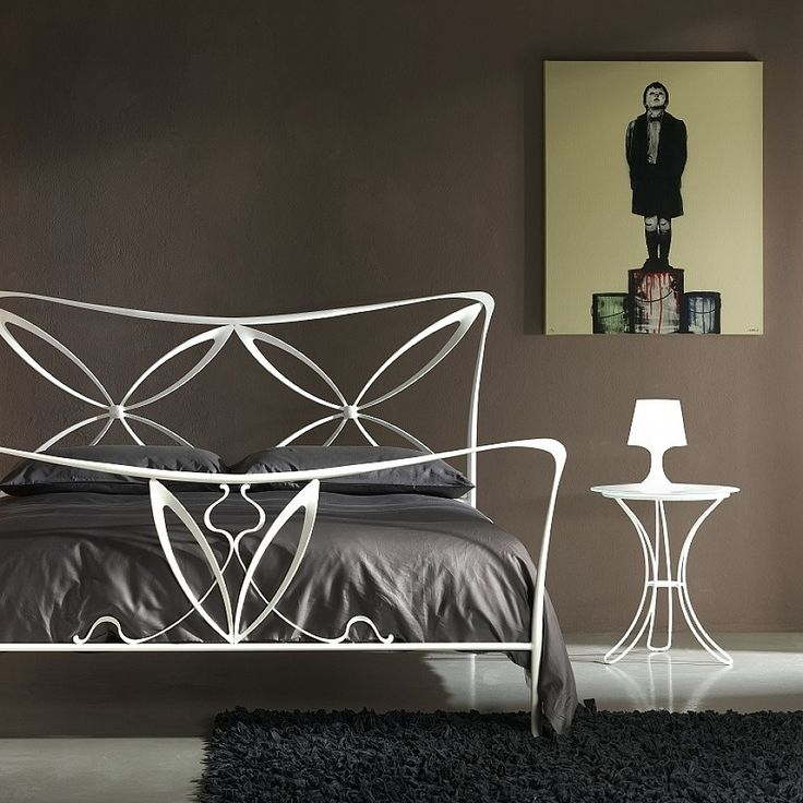 Modern small metal & glass bedside table Fiocco by Cosatto