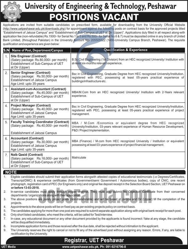 University Of Engineering And Technology UET Jobs 2018 In Peshawar For Engineers And Coordinator https://www.jobsfanda.com/university-of-engineering-and-technology-jobs-2018-in-peshawar-for-engineers-and-coordinator/