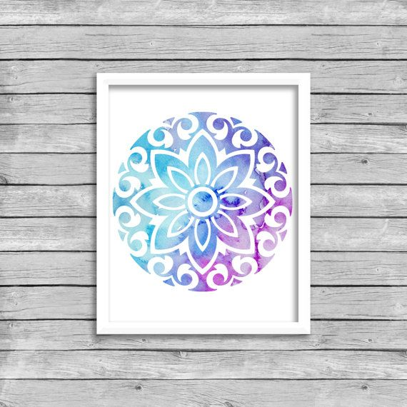 Watercolor Mandala #1 - DIY Printable Wall Art INSTANT DOWNLOAD Print and frame this lovely quote from your home computer or local print shop to gift to a friend or to style your home or office. Download Includes: 1 JPG File Print Size: 8x10 This file is high resolution (300 PPI) which will give you a beautiful clear print. HOW TO DOWNLOAD After purchasing a digital file on Etsy, you'll see a View your files link which goes to the Downloads page. Here, you can download all the files assoc...