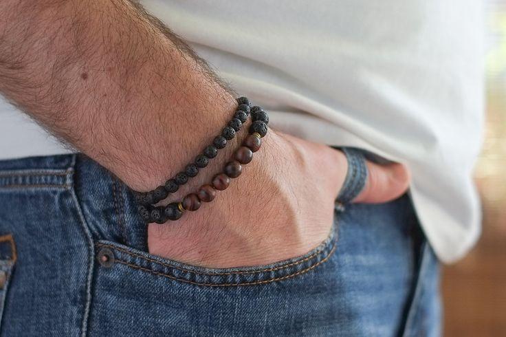 Mens Armbands – Set male bracelets lava buffalo eye – a unique product by Blackif on DaWanda