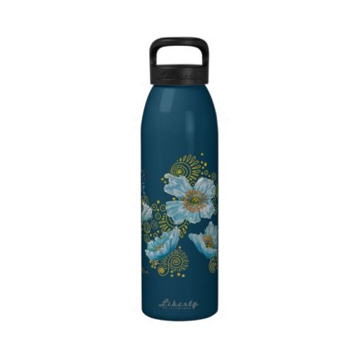 Reusable 'Blue Poppy' Water Bottle made with recycled aluminum for $39.35 #drinkwater #health