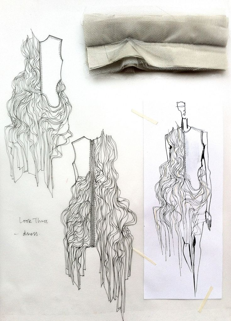 Fashion Sketchbook - fashion design drawings with fabric manipulation ideas & fabric samples for development; fashion portfolio // Connie Blackaller
