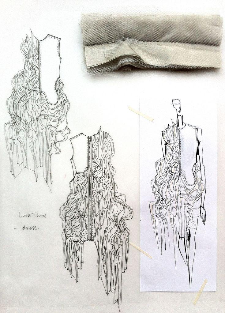Fashion Sketchbook - fashion design drawings with fabric manipulation ideas & fabric samples for development; fashion portfolio