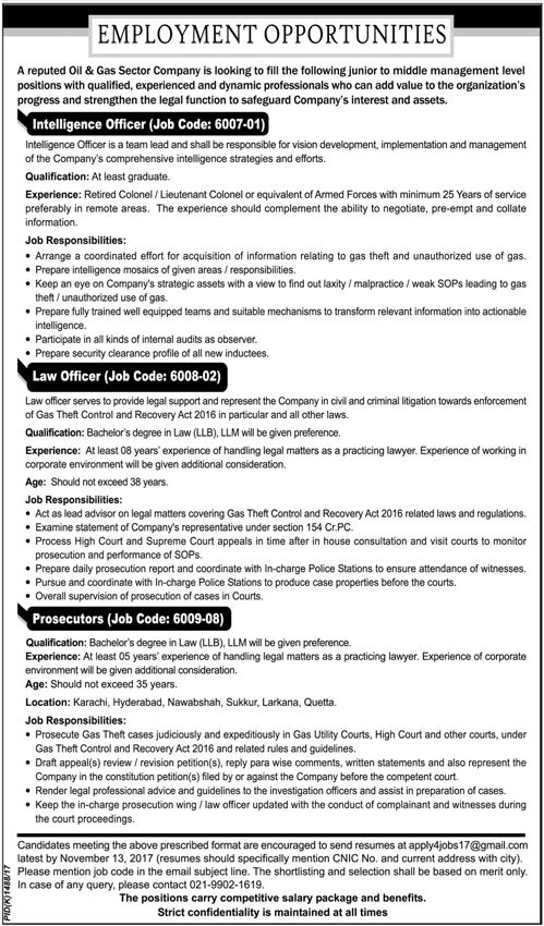 Oil And Gas Company Jobs 2017 In Karachi For Intelligence Officer And  Prosecutors Http:/