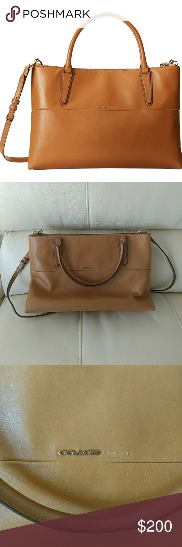"""Coach Borough Napa Purse Lightly used, bottom and corners in great condition. Small pen mark on back. 13.95""""x9""""x5.5"""". Includes original dust bag Coach Bags"""