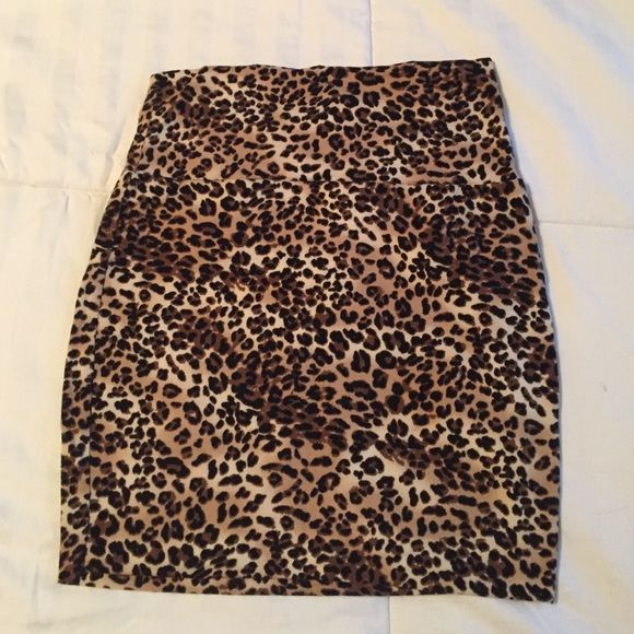 Leopard Bodycon skirt Cute body con skirt! Goes great with a wide black belt! Worn once! Wet Seal Skirts Mini