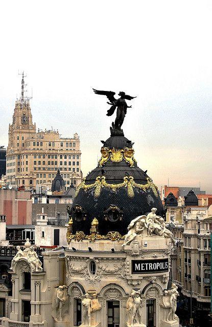 Angel on top of Metropolis Building, Madrid, Spain.