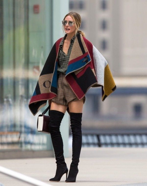 Olivia Palermo wearing Burberry Colour Block Check Blanket Poncho and Aquazzura X Olivia Palermo Suede and Glossed-Elaphe Thigh Boots
