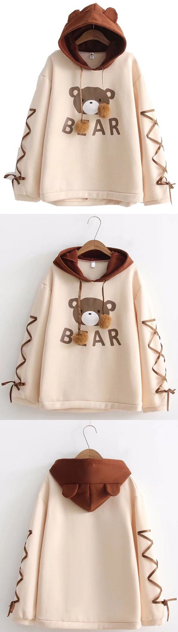 [Newchic Online Shopping] 48% OFF Women Bear Printed Sweatshirts