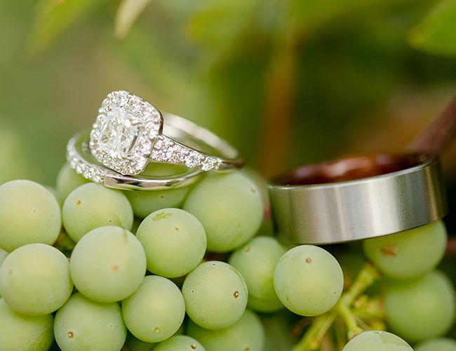 halo engagement ring + wedding band