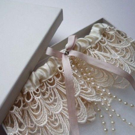 Je'taime wedding garter by Florrie Mitton | Lace bridal garter with pearl trim
