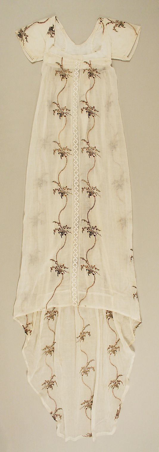 Evening Dress, ca. 1795, British (probably), cotton, silk. In the Metropolitan Museum of Art costume collection. (Click through for close-up of embroidery.)