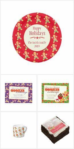 Cookie swap invitations, plates and gifting supplies by www.mylittleeden.com #cookieswap #cookieexchange #cookieswapinvites #gingerbread